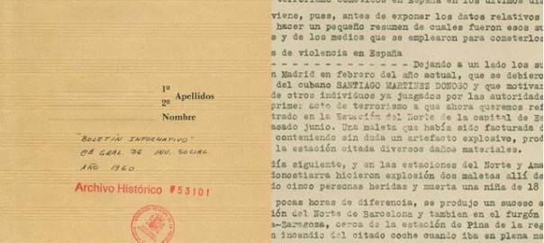 Documents de la Brigada Político-social que relacionen el DRIL amb la bomba que va matar Urroz.