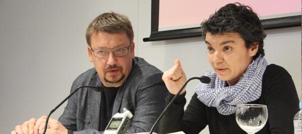 Els diputats d'En Comú Podem, Xavier Domenech i Lucía Martín.