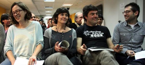 Eulàlia Reguant, Pilar Castillejo, Josep Manel Busqueta i Ricard Torné el dia que van presentar les propostes pressupostàries de la CUP.