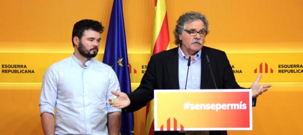 Els caps de llista d'ERC a les eleccions del 26-J, Gabriel Rufián i Joan Tardà.