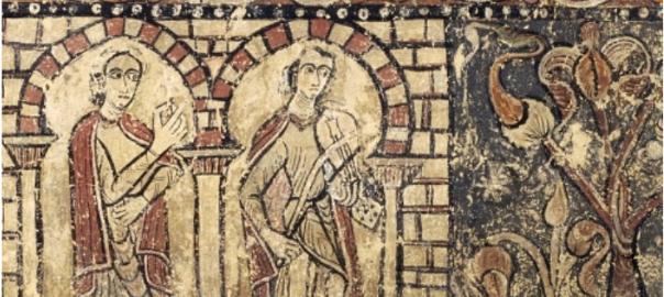 Una de les pintures que conserva el MNAC, per dipòsit de la comunitat de monges santjoanistes del monestir de Santa Maria de Sixena el 1960: 'Dama i joglar en un palau i lleó atacant un soldat' (fragment de pintura mural). Cap a 1200.