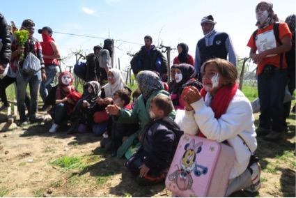 Refugiats en territori macedoni poc abans de ser deportats