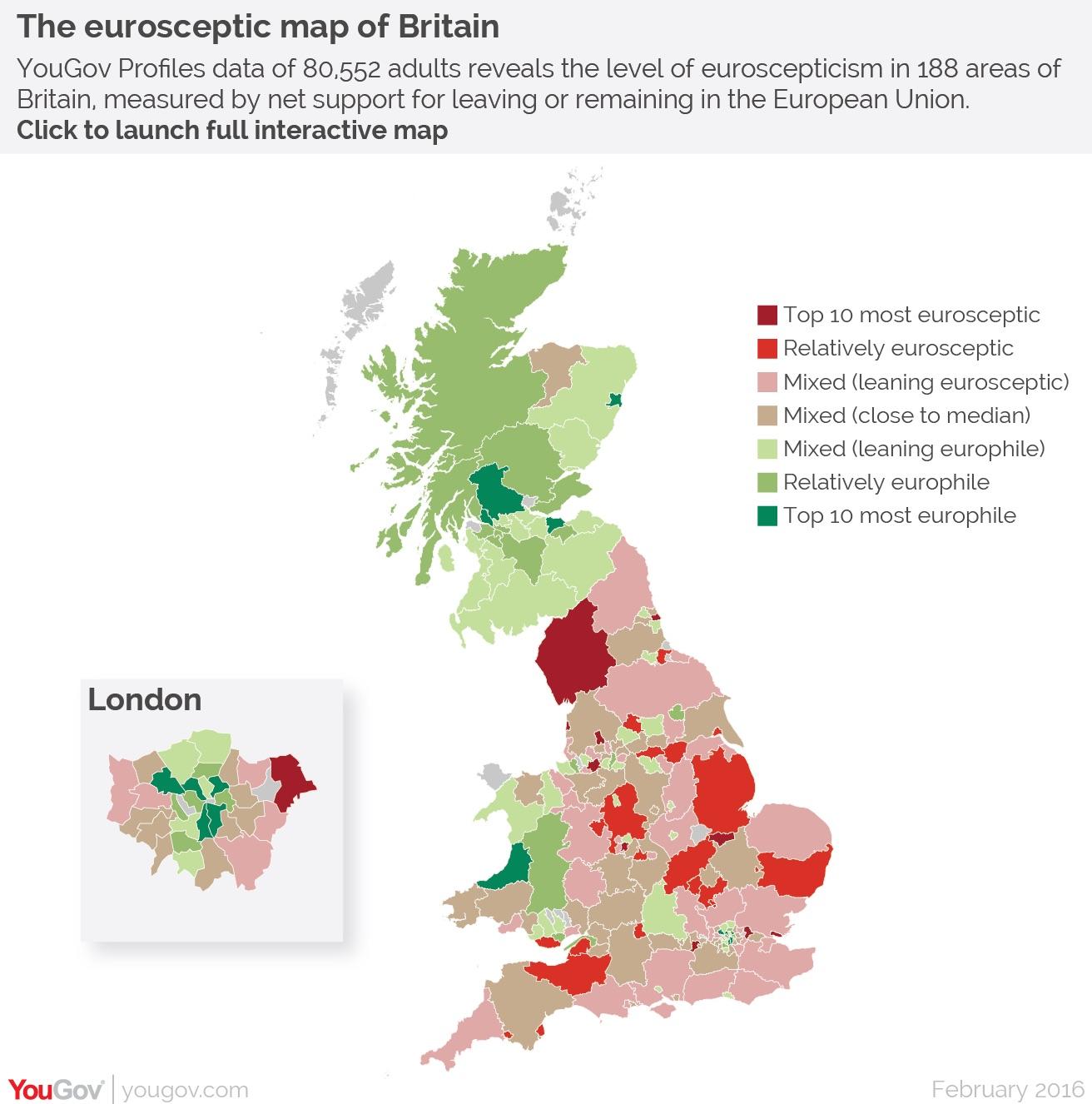 Zones més i menys partidàries del Brexit. Mapa de The Independent
