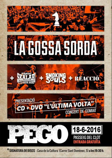 El cartell del concert de comiat de la Gossa Sorda a Pego