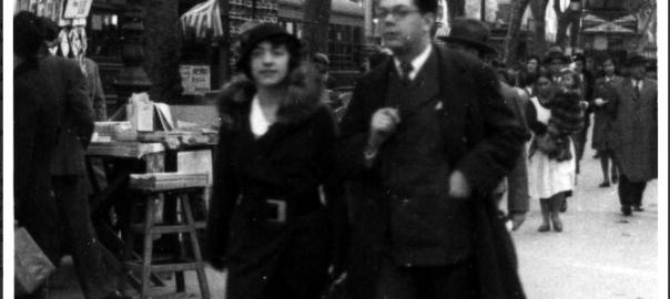 Pierre Vilar amb la seva esposa Gabriela Berrogain a les Rambla de Barcelona, cap a 1933?