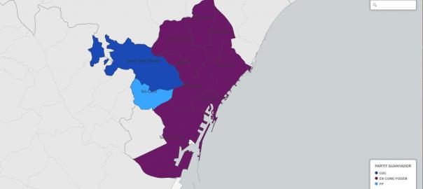Mapa electoral de Barcelona per districtes; el 26-J el PP es va imposar a les Corts.