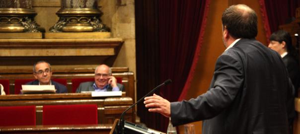 El vice-president de la Generalitat, Oriol Junqueras, respon a la interpel·lació de Joan Coscubiela.