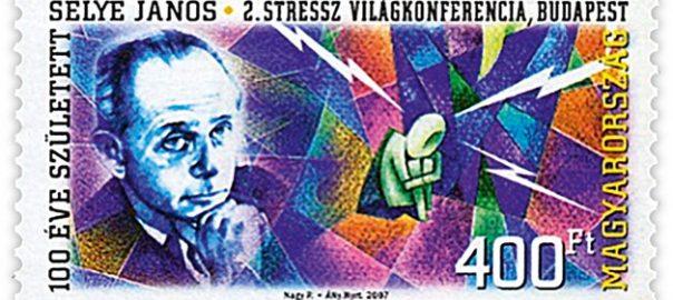 Segell commemoratiu hongarès emès l'any 2007 amb el rostre del fisiòleg i metge Hans Selye, coincidint amb el centenari del seu naixement.
