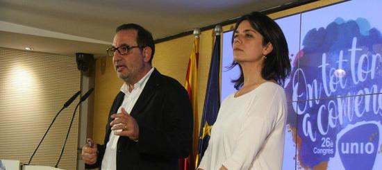 Ramon Espadaler i Montse Surroca, en roda de premsa a la seu d'UDC el 6 de juny del 2016. (horitzontal)