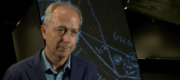 Amador Vega, comissari de l'exposició 'La màquina de pensar: Ramon Llull i l'Ars combinatoria'. Al CCCB.