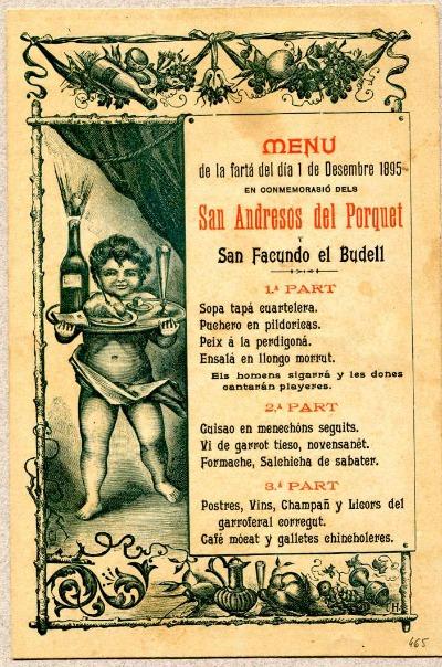 Menú de to burlesc de l'any 1895.