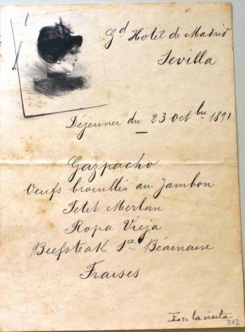 Menú dedicat al gran duc Vladimir de Rússia (Sevilla, 1891).