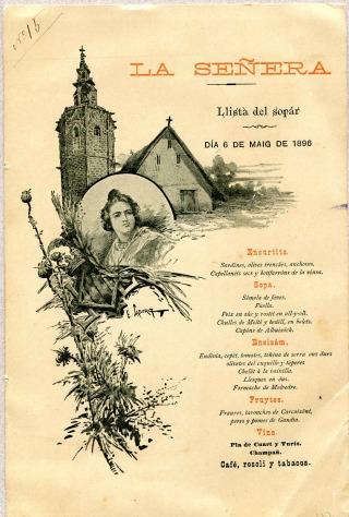 Menú ofert per La Senyera el 1896.