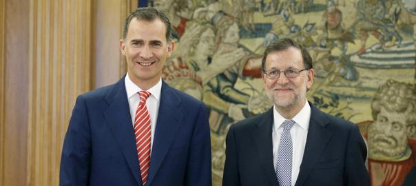 El líder del PP, Mariano Rajoy, i el rei Felip VI, a La Zaruela, aquest 28/07/2016 (horitzontal)