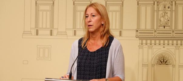 La consellera de la Presidència i portaveu, Neus Munté, durant la seva compareixença al Palau de la Generalitat aquest 29-7-16 (horitzontal).