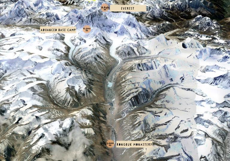 Imatge del recorregut que farà Kilian Jornet (infografia extreta de Summits of My Life)