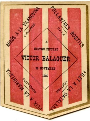 Menú ofert per Víctor Balaguer a Vilanova i la Geltrú el 1880.