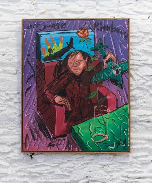 Jörg Immendorff. 'Der Junge Rimbaud', 1992. L'obra fa raferència a l'accident d'avió que Beuys va patir durant la Segona Guerra Mundial.