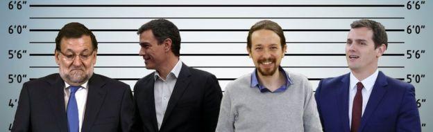 Els quatre líders polítics espanyols presentats per la BBC com a sospitosos habituals