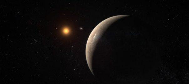 Recreació del planeta Pròxima b orbitant l'estrella Pròxima del Centaure.