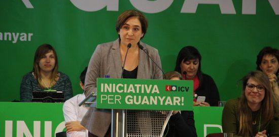La batllessa de Barcelona, Ada Colau, durant la seva intervenció a l'Assemblea d'ICV, el 9 d'abril del 2016. Pla mig llarg. (horitzontal)
