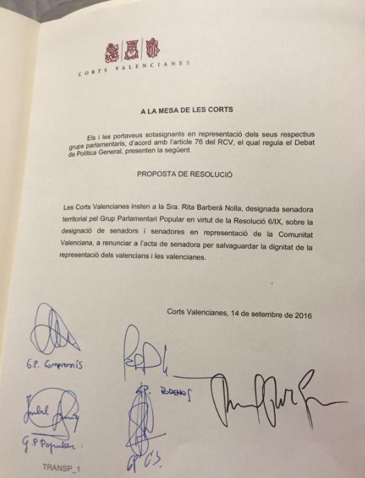 Proposta de resolució signada per tots els grups de les Corts demanant a Rita Barberá la renúncia a l'acta de senadora