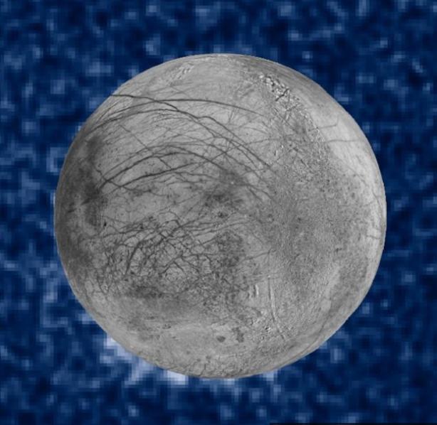 En aquesta fotografia composta de la NASA s'observa, a baix a l'esquerra, possibles erupcions massives de vapor d'aigua de la superfície d'Europa a l'espai. Fotografia: NASA.
