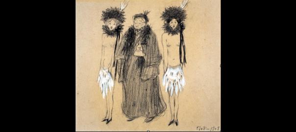 L'escriptora i feminista Dolors Monserdà (1845-1919) defensada per dues guerreres, en dibuix irònic de Lluïsa Vidal, amiga i companya de combats.