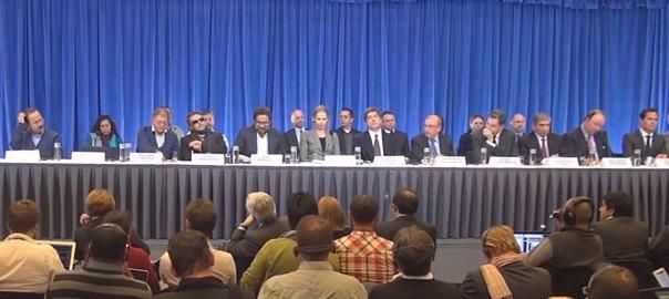 Conferència de premsa de representants de les FARC i del govern colombià a Oslo, el 2012.