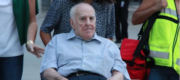 El propietari de Damm, Demetriro Carceller Coll, aquest matí arribant a l'Audiència Nacional espanyola. Fotografia: ACN.