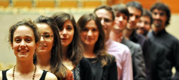 Imatge en pla mig dels membres de l'orquestra de cambra LleidArt Ensemble. Imatge cedida el 15 de setembre del 2016 (horitzontal)