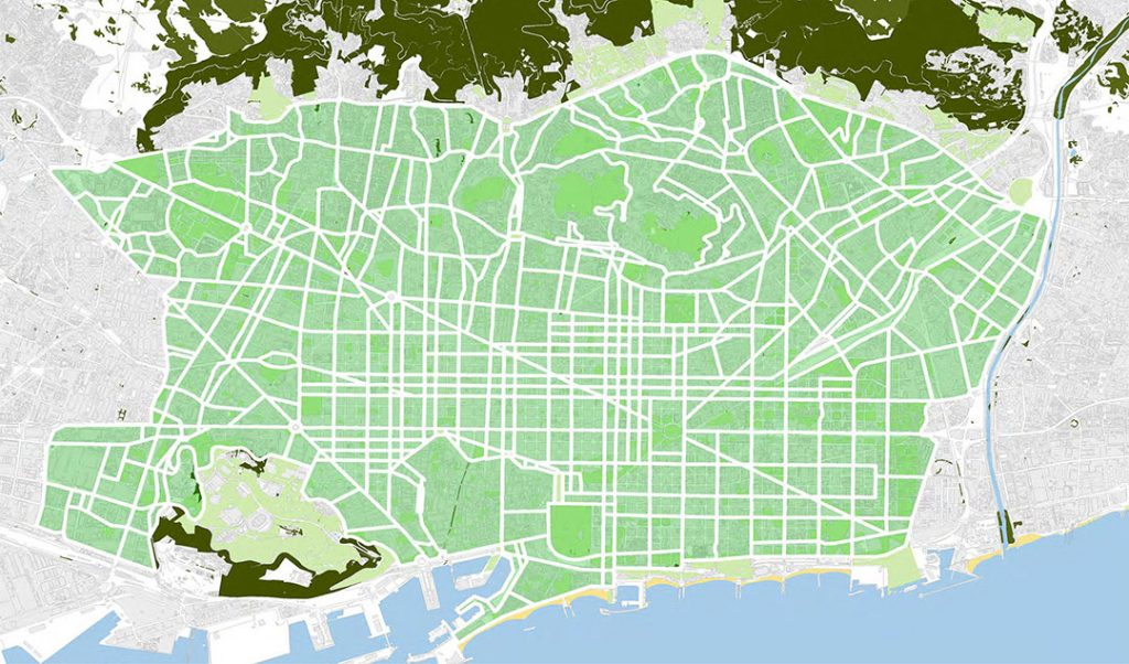 Mapa de les superilles previstes pel PMU