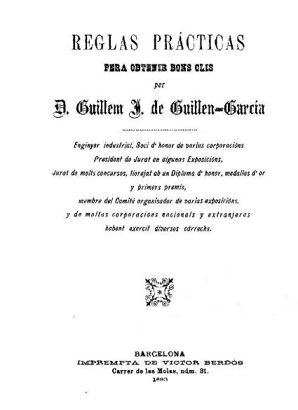 Portada de las 'Reglas prácticas pera obtenir bons olis'. Barcelona, impremta de Víctor Berdós, 1893.