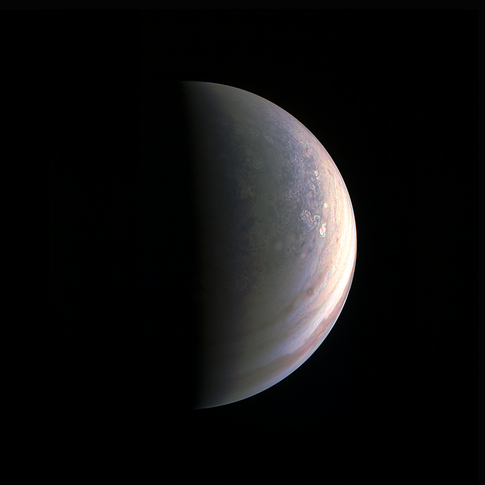 Imatge de Júpiter feta per la sonda Juno (autor: NASA)