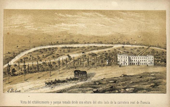 Banys de la Mercè (Campany) en construcció (1863).