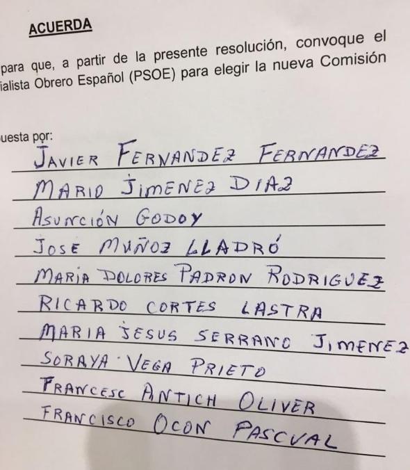 Els noms de la nova gestora del PSOE