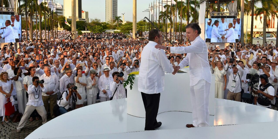 El líder de les FARC, Timoleón Jiménez, i el president de Colòmbia, Juan Manuel Santos