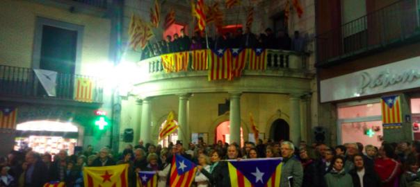 Una imatge de la concentració a la plaça de Sant Pere de Berga (ANC Berga)