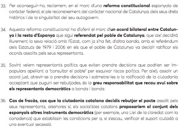 Els articles de l'esborrany de ponència del PSC que feien referència al referèndum.