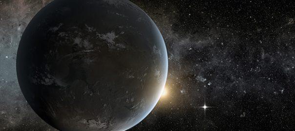 Representació artística de l'exoplaneta Kepler-62f orbitant a la zona habitable de la seva estrella. / NASA Ames/JPL-Caltech