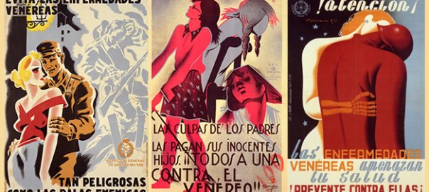 Cartells de propaganda sanitària prevenint la població del perill de les malalties venèries.