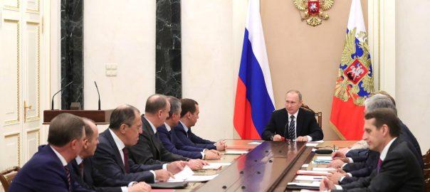 Vladimir Putin, en una reunió amb el consell de Seguretat del Kremlin.