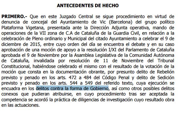 Fragment de la interlocutòria del jutge Ismael Moreno contra Joan Coma.