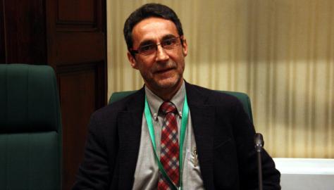 El catedràtic de ciència política de la UPF Ferran Requejo, durant la seva compareixença al Parlament (05/04/2016).