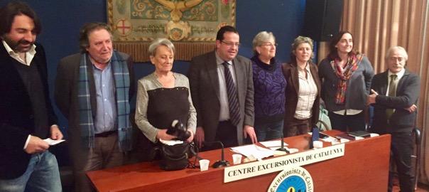 Els vuit membres del comitè executiu del Pacte Nacional pel Referèndum.