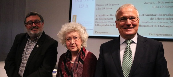 El president del Grup de Periodistes Pi i Maragall, Sergio Fidalgo; la impulsora de Concòrdia Cívica, Teresa Freixes, i el president d'Empresaris de Catalunya, Josep Bou, en la presentació de l'entitat.