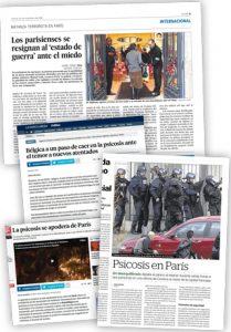 Termes com 'psicosi' o 'esquizofrènia' són utilitzats de manera pejorativa i en molts casos en notícies que no tenen res a veure amb la salut mental. Després dels atemptats contra la revista satírica Charlie Hebdo a París o dels atemptats de novembre de 2015 en diversos punts de la capital francesa, els diaris van fer referència a la «psicosi terrorista». En les imatges, titular del diari 'El País' del 20 de novembre de 2015 que destaca en l'entradeta: «El sentiment d'amenaça i la psicosi provocada per la possibilitat d'un nou atemptat terrorista […] recorren París» i titulars d'altres capçaleres que empren la paraula 'psicosi' com a sinònim de pànic.