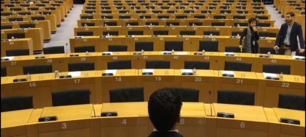 Vista de la sala del Parlament Europeu on es farà la conferència.