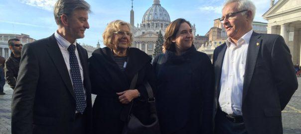 Joan Ribóal Vaticàamb les alcaldesses de Madrid i de Barcelona