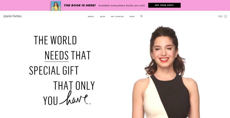 Ejemplo web de marca personal Marie Forleo